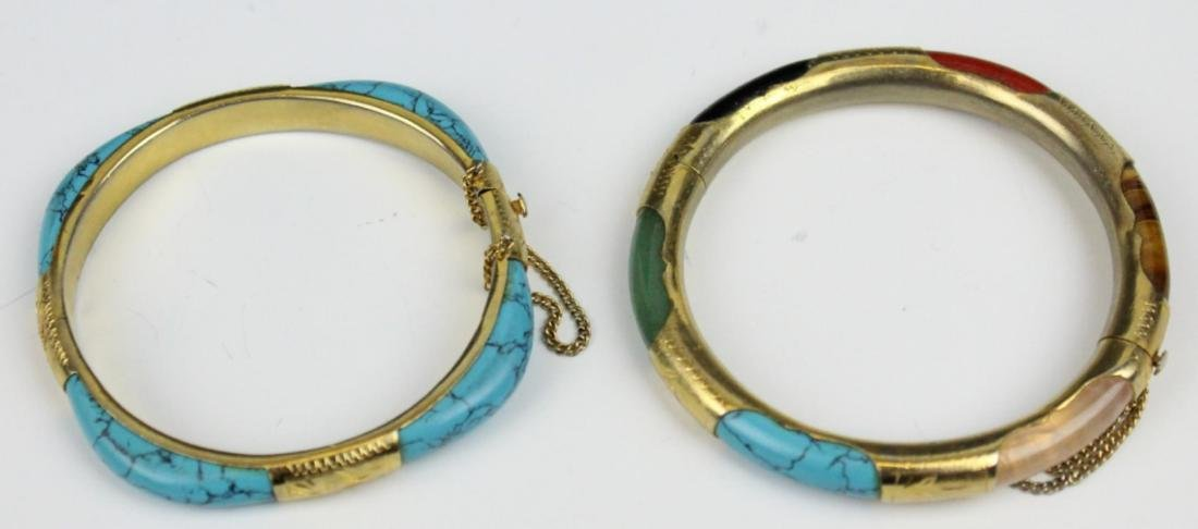 PAIR OF VINTAGE ASIAN BRACELETS WITH TURQUOISE - 3