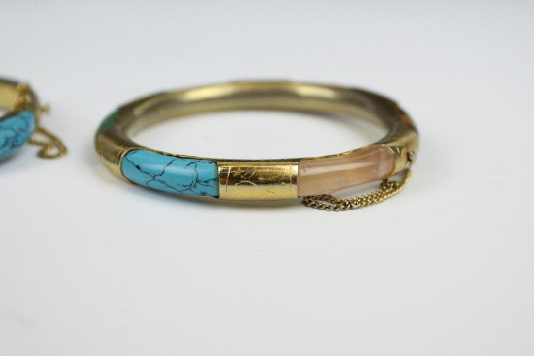 PAIR OF VINTAGE ASIAN BRACELETS WITH TURQUOISE - 4