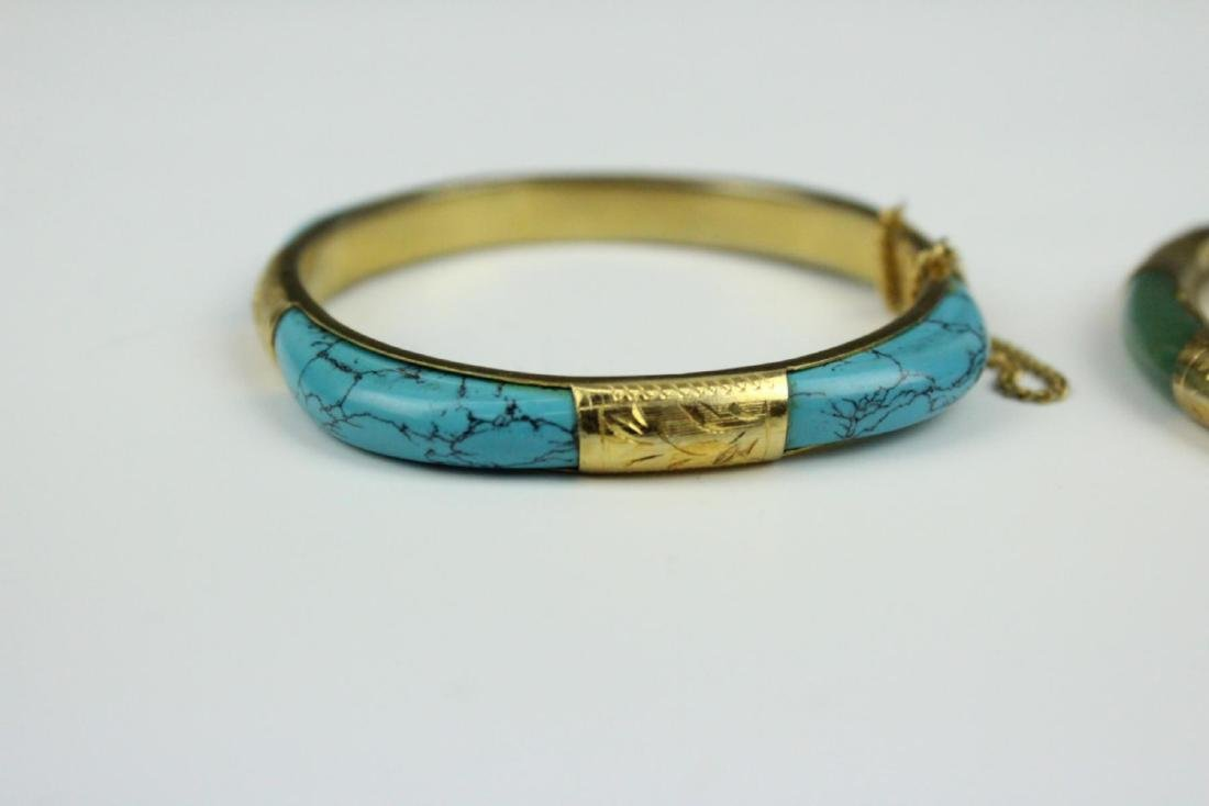 PAIR OF VINTAGE ASIAN BRACELETS WITH TURQUOISE - 5