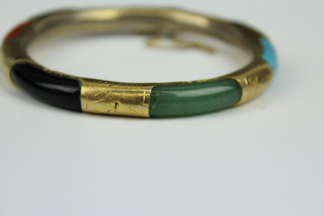 PAIR OF VINTAGE ASIAN BRACELETS WITH TURQUOISE - 6