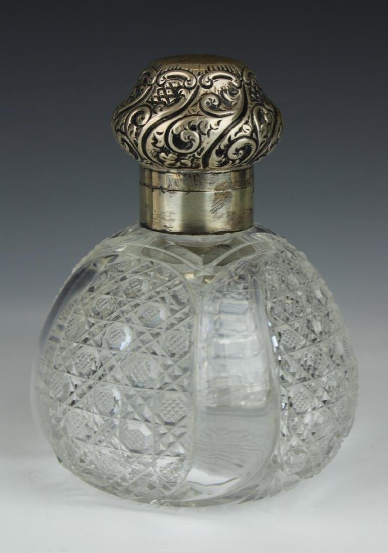 ANTIQUE ENGLISH STERLING SILVER PERFUME BOTTLE