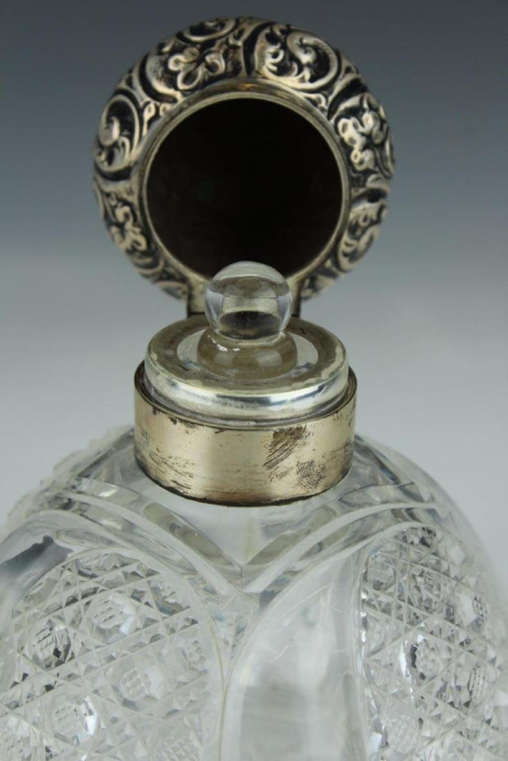 ANTIQUE ENGLISH STERLING SILVER PERFUME BOTTLE - 5