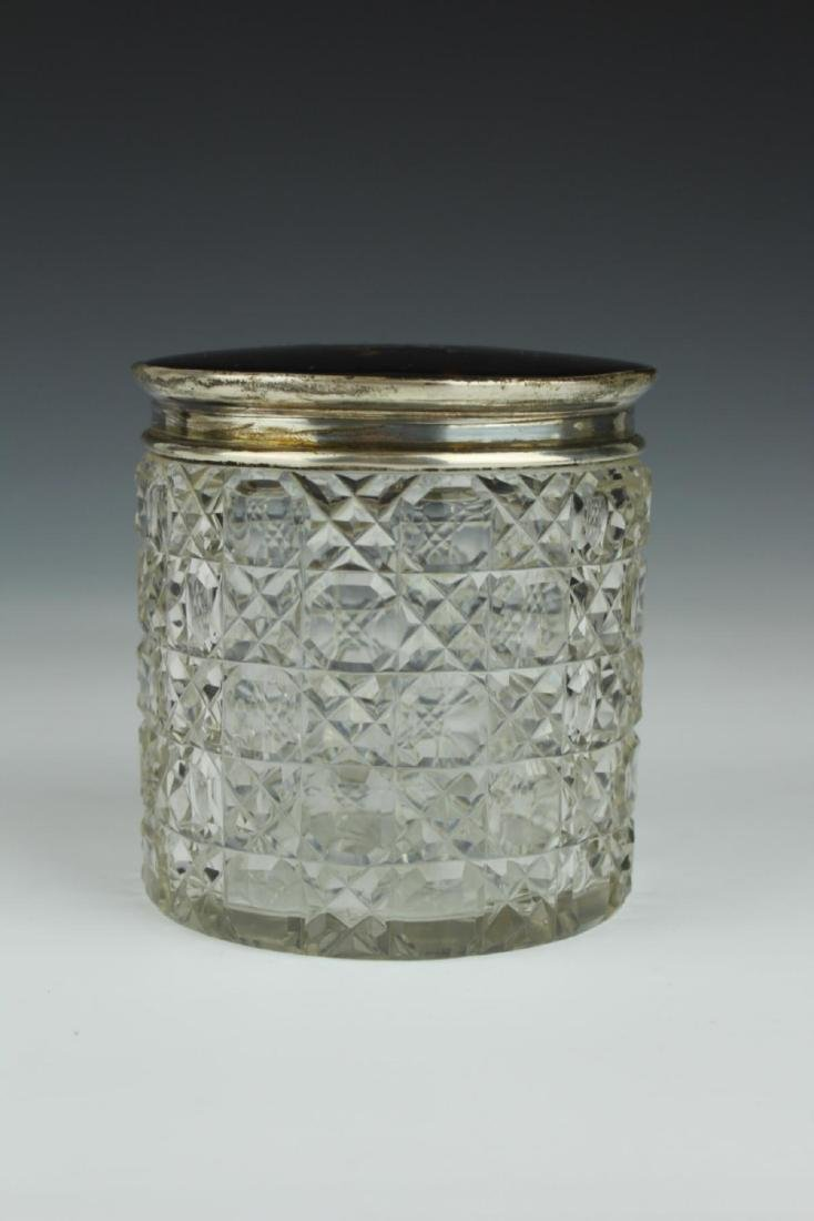 ANTIQUE ENGLISH BOULLE TOP CRYSTAL DRESSER BOX - 2