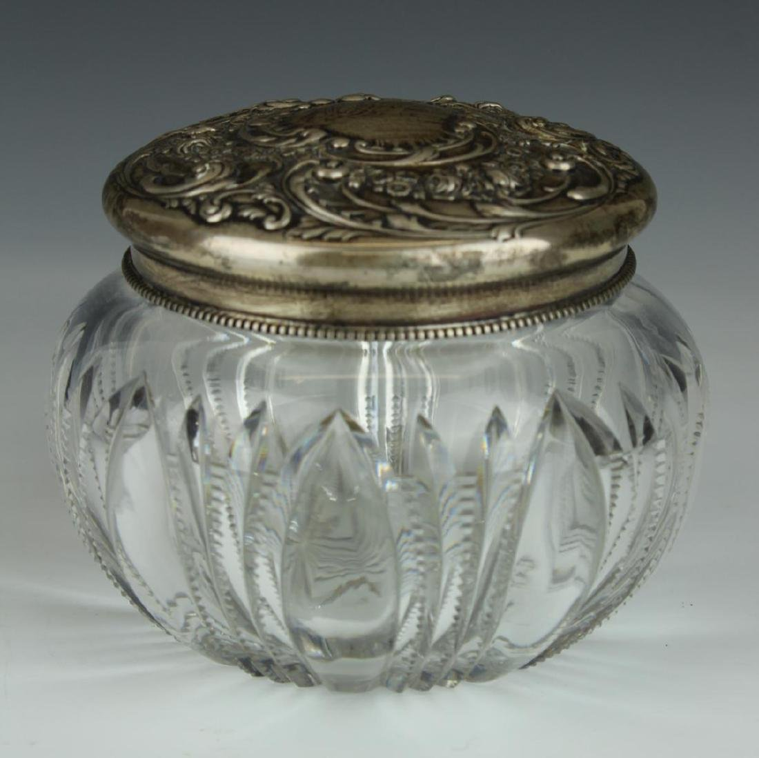 GORHAM STERLING SILVER TOP CUT CRYSTAL DRESSER BOX