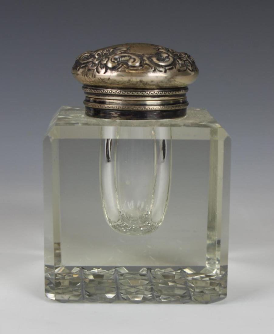 ANTIQUE STERLING SILVER CUT CRYSTAL INKWELL