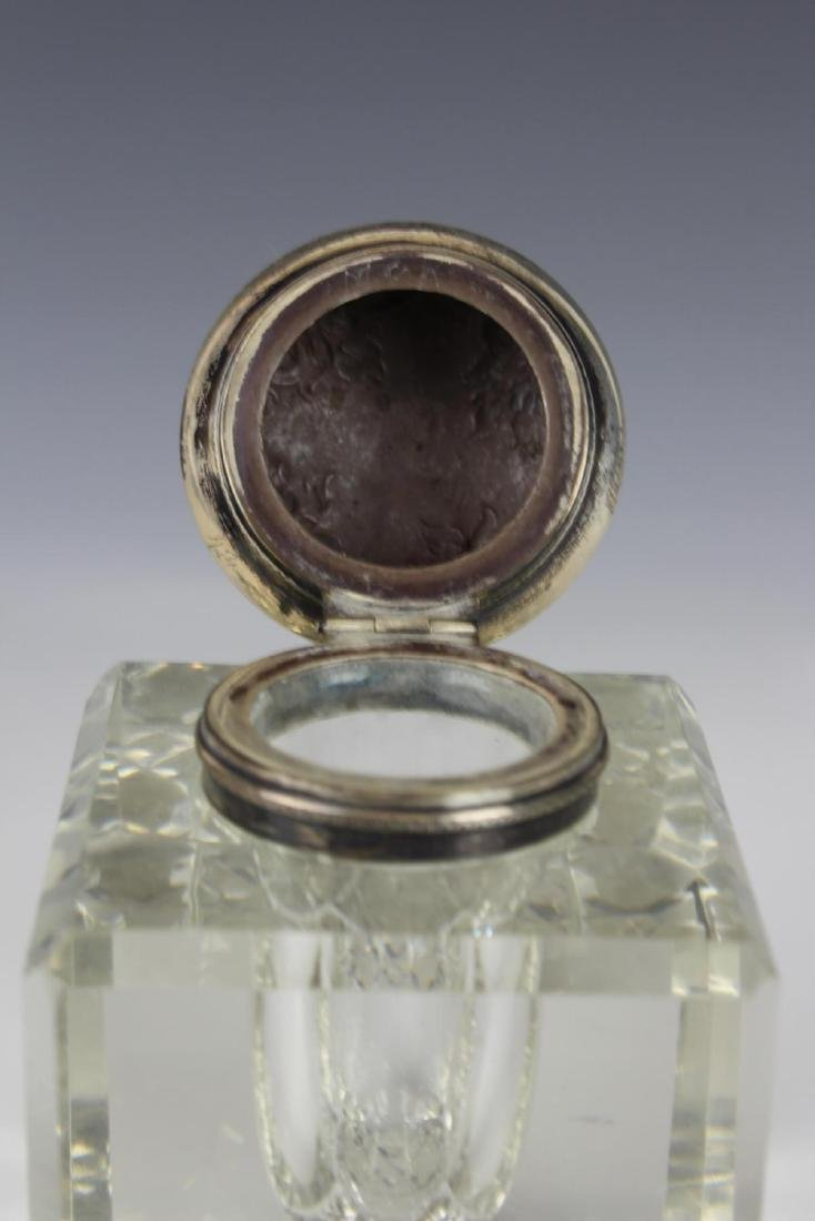 ANTIQUE STERLING SILVER CUT CRYSTAL INKWELL - 4
