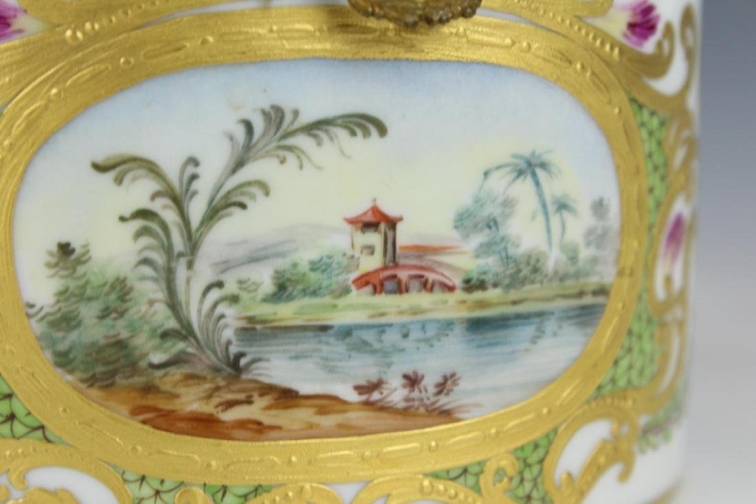 ANTIQUE LOCRE PARIS PORCELAIN SCENIC DRESSER BOX - 2
