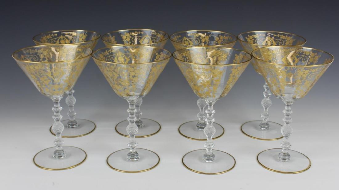 (8) CONTINENTAL CRYSTAL GOLD GILT MARTINI GLASSES