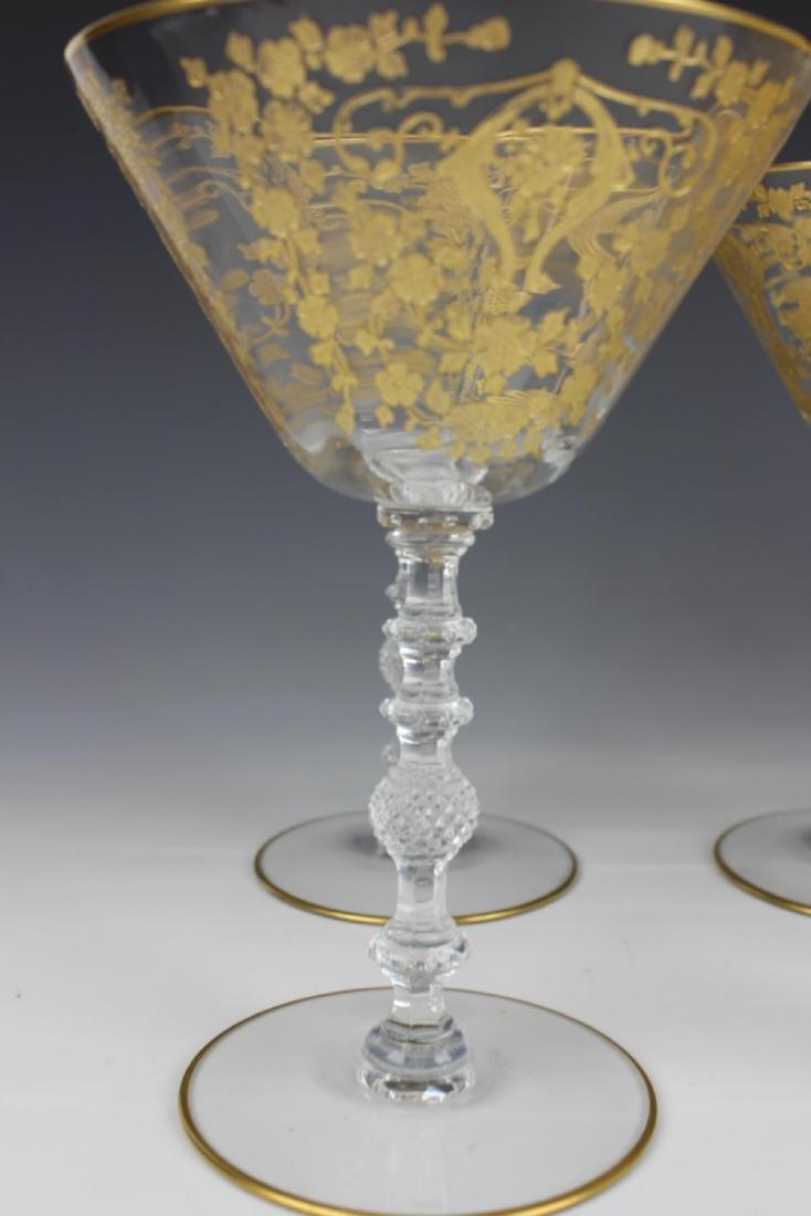 (8) CONTINENTAL CRYSTAL GOLD GILT MARTINI GLASSES - 2