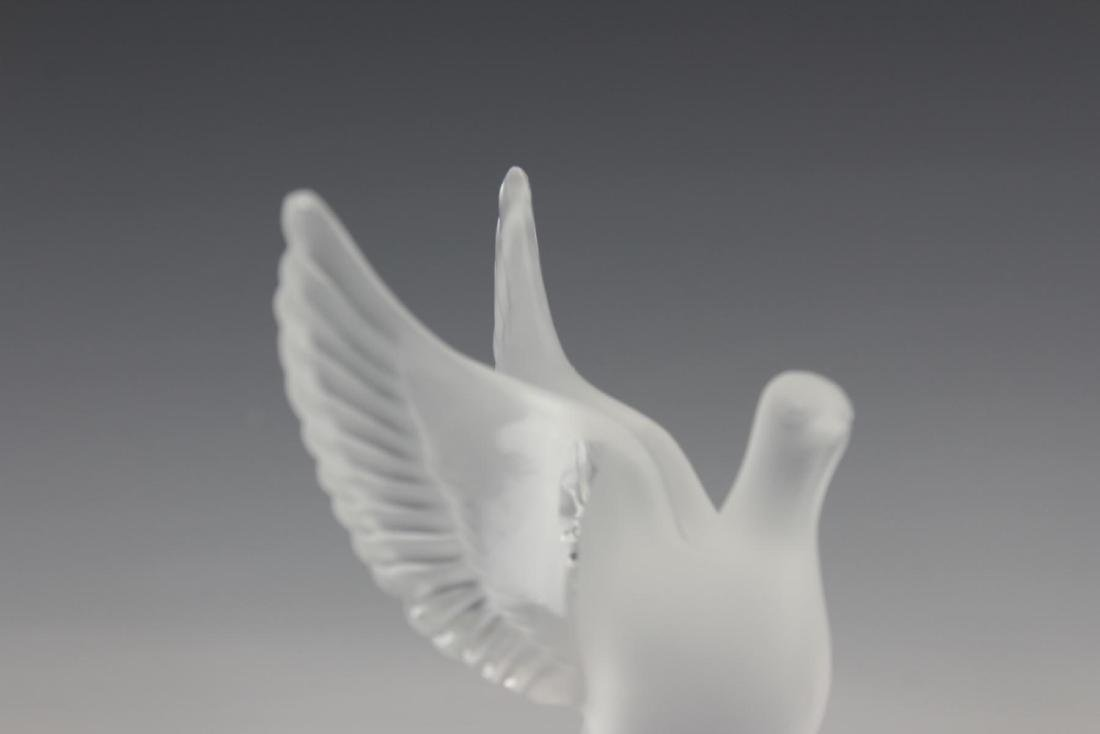 Pr LALIQUE FRENCH CRYSTAL BIRDS TRINKET DISHES - 2