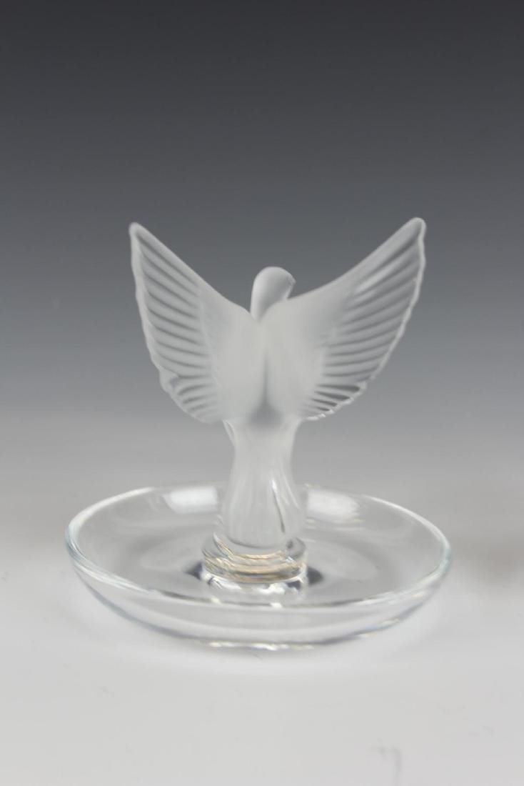 Pr LALIQUE FRENCH CRYSTAL BIRDS TRINKET DISHES - 4