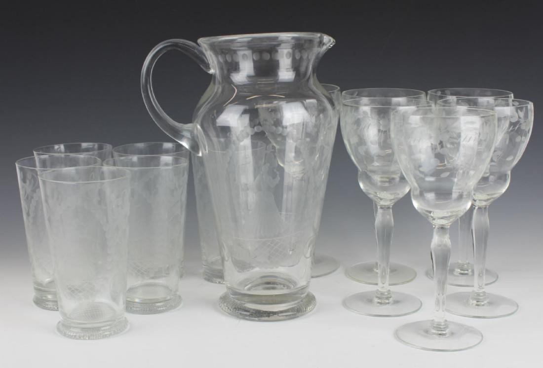 (13) ANTIQUE ETCHED WINE & WATER GLASS & PITCHER