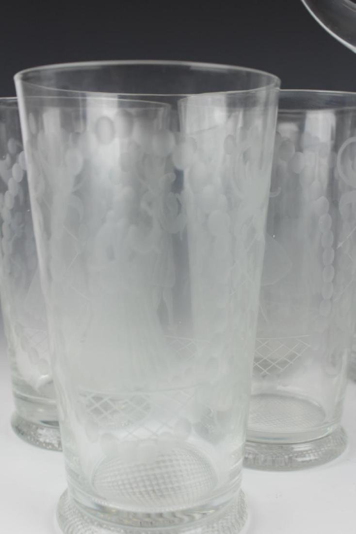 (13) ANTIQUE ETCHED WINE & WATER GLASS & PITCHER - 3