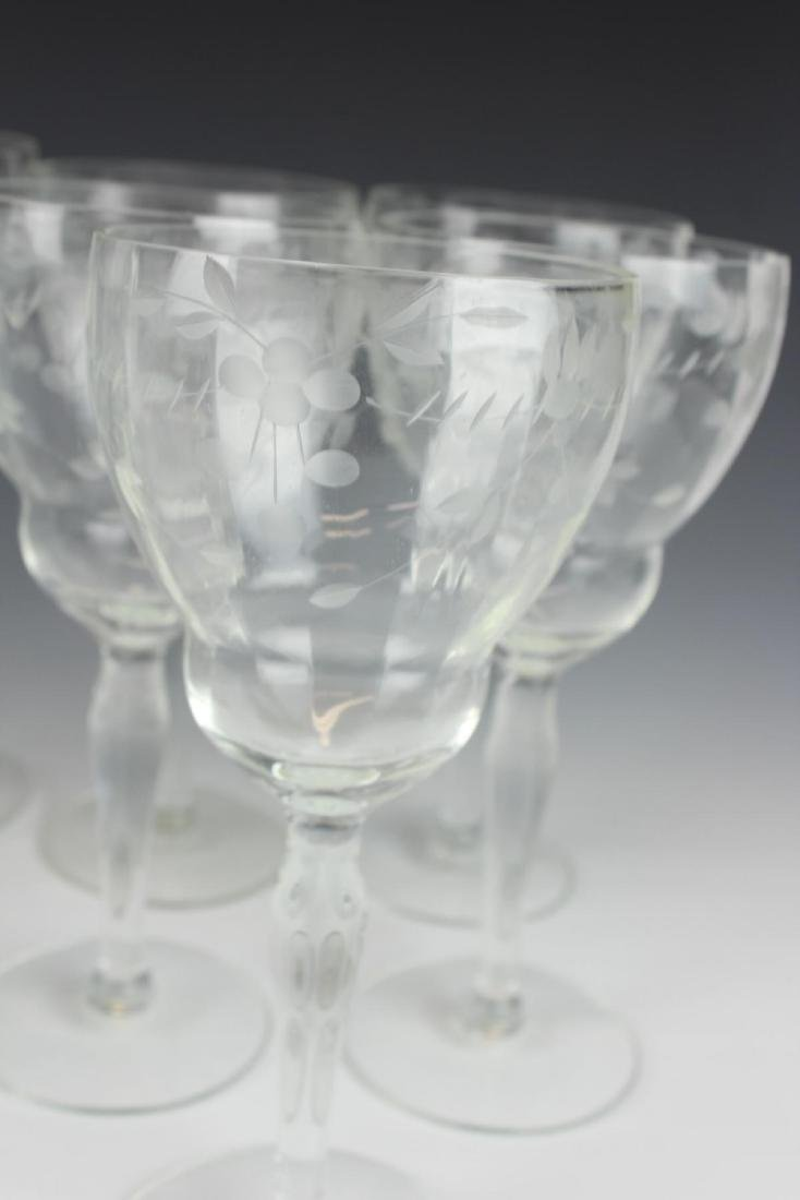 (13) ANTIQUE ETCHED WINE & WATER GLASS & PITCHER - 4