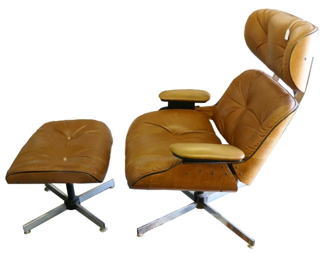 CHARLES & RAY EAMES STYLE LOUNGE CHAIR & OTTOMAN