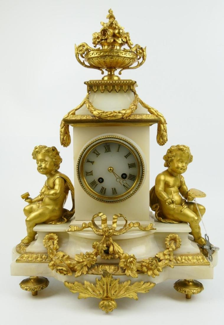 ANTIQUE JAPY FRERES ORMOLU MOUNTED ALABASTER CLOCK