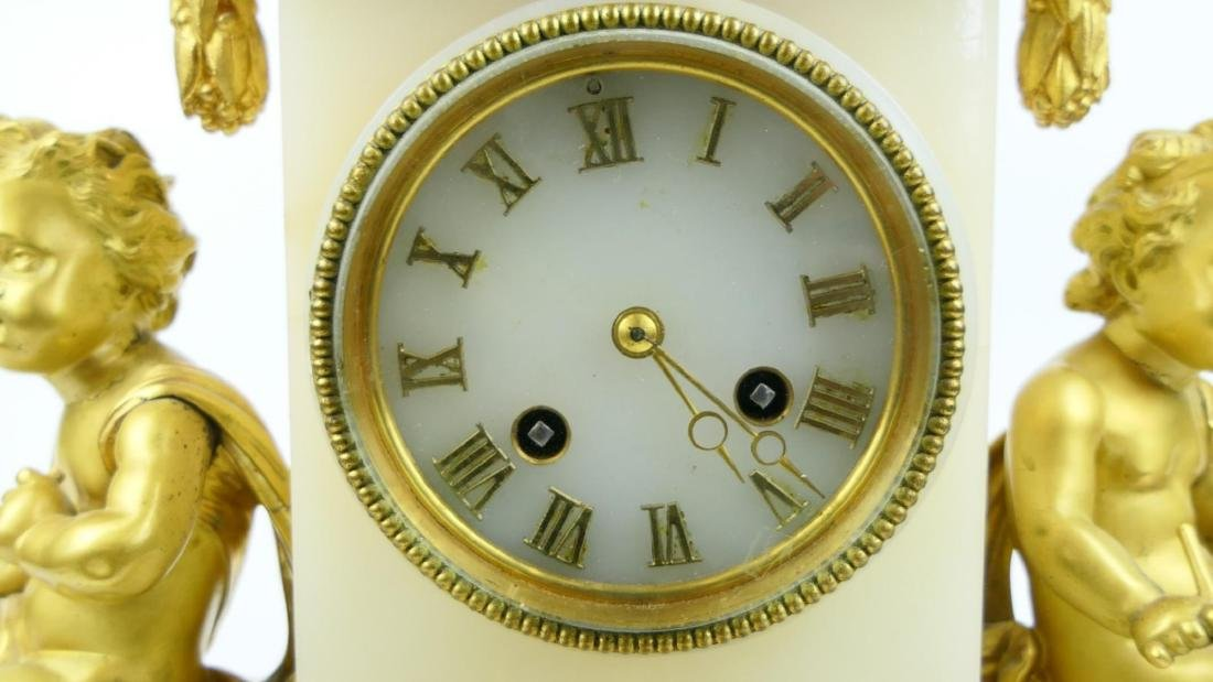 ANTIQUE JAPY FRERES ORMOLU MOUNTED ALABASTER CLOCK - 5