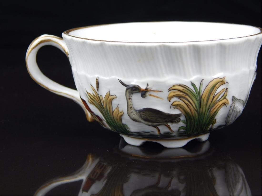 ANTIQUE MEISSEN SWAN TEA CUP AND SAUCER SET - 3