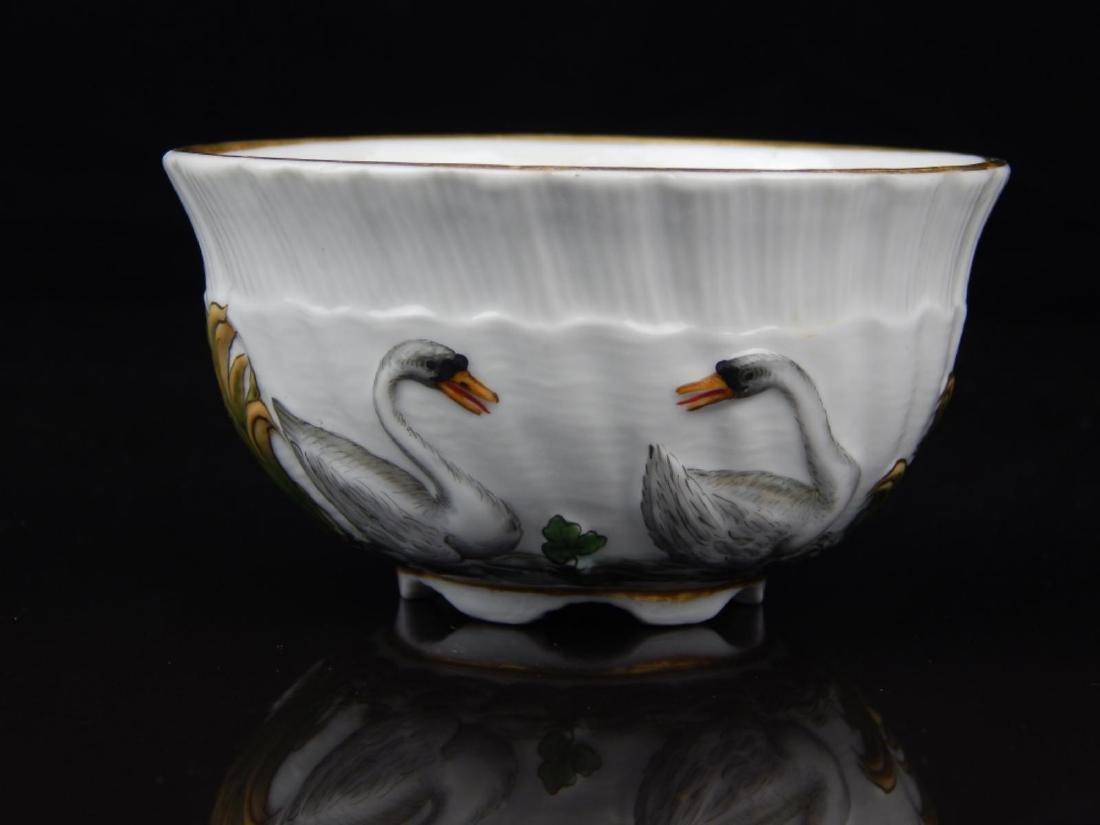 ANTIQUE MEISSEN SWAN TEA CUP AND SAUCER SET - 4