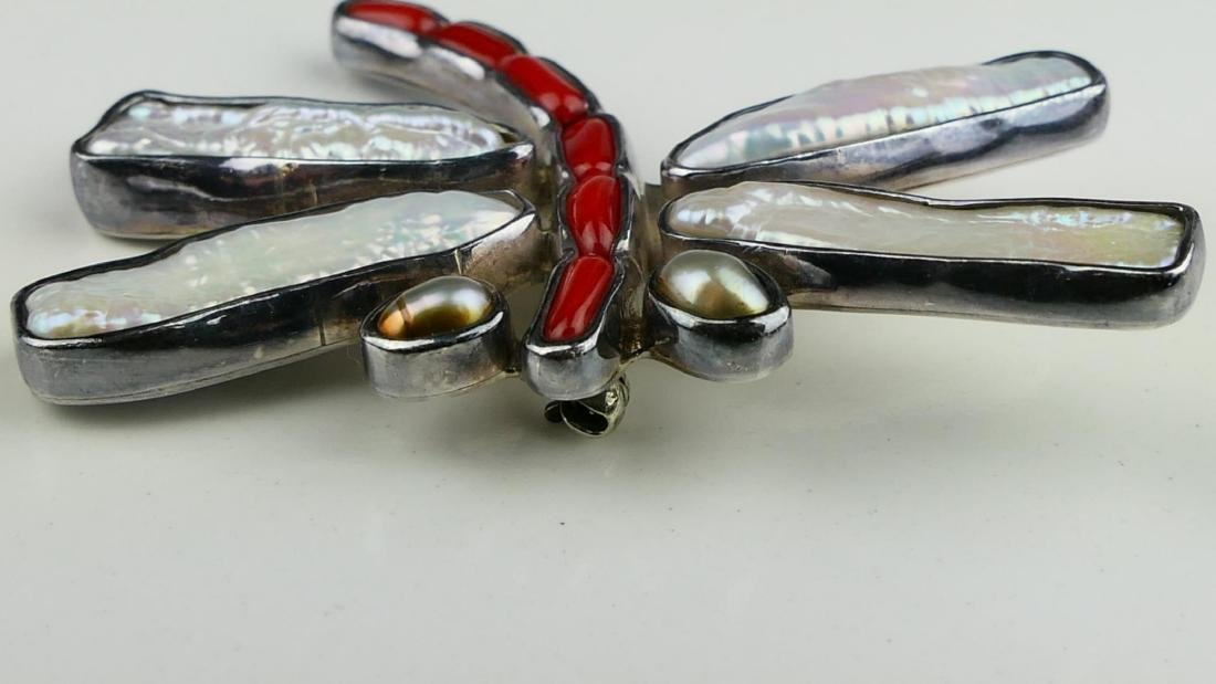 NATIVE AMERICAN STERLING MOP CORAL DRAGONFLY PIN - 3