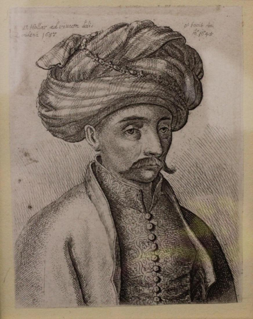WENCELAUS HOLLAR ETCHING OF TURKISH GENTLEMAN