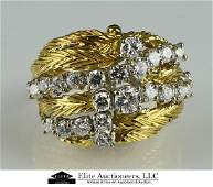 STUNNING 18K YELLOW GOLD 2CT DIAMOND LEAF RING