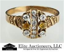 ANTIQUE 14KT Y GOLD & 10 DIAMOND LADIES RING