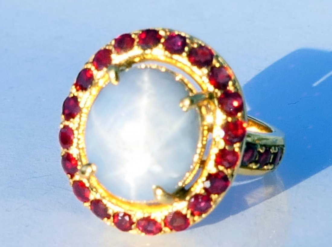 18K RG NATURAL STAR SAPPHIRE RUBY RING w/ CERTS