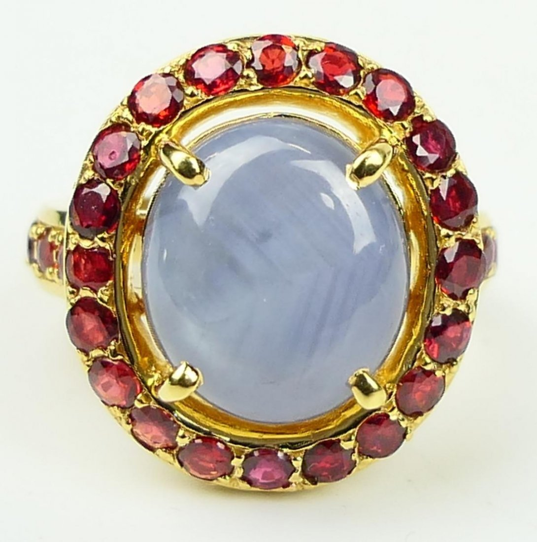 18K RG NATURAL STAR SAPPHIRE RUBY RING w/ CERTS - 2