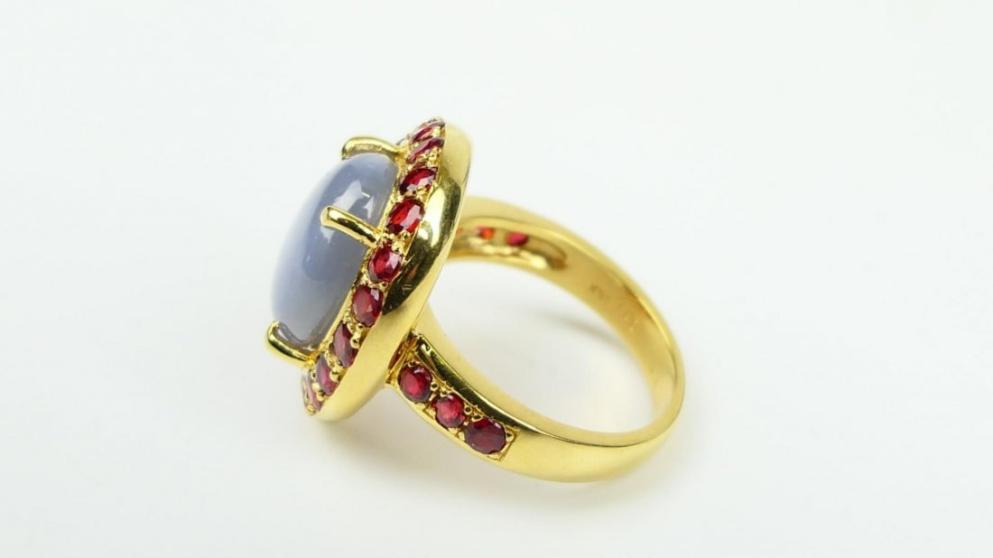 18K RG NATURAL STAR SAPPHIRE RUBY RING w/ CERTS - 5
