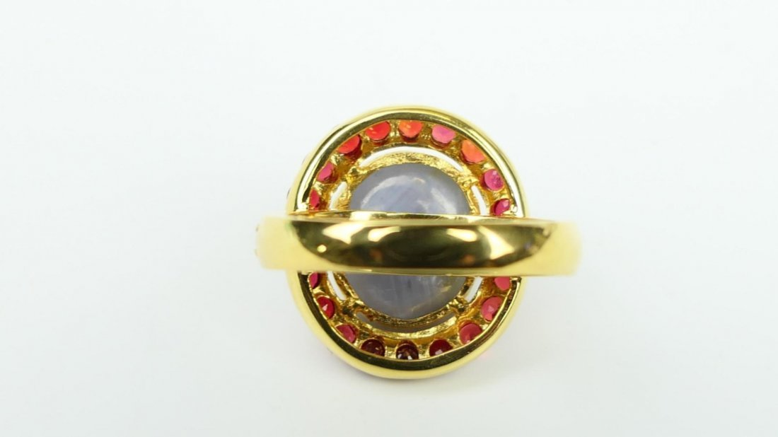 18K RG NATURAL STAR SAPPHIRE RUBY RING w/ CERTS - 6