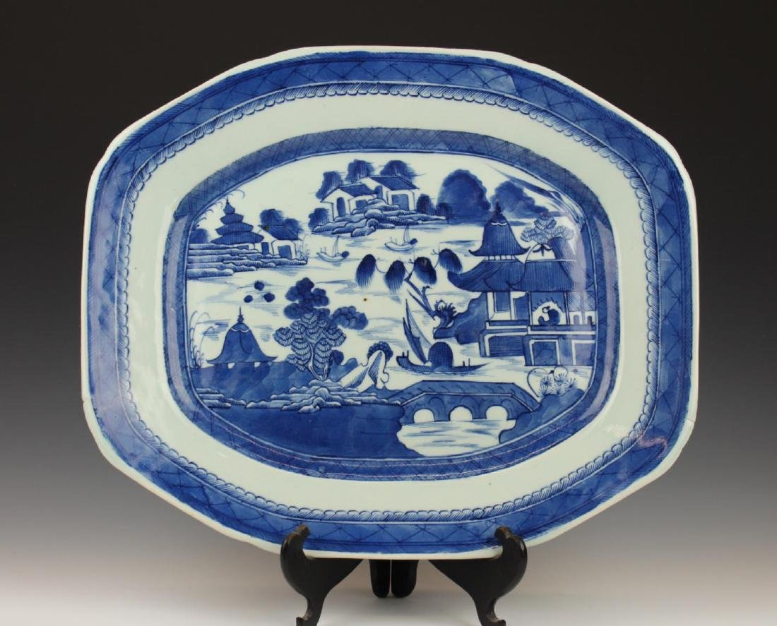 """19th/20th C CHINESE BLUE WHITE CANTON 17"""" PLATTER"""
