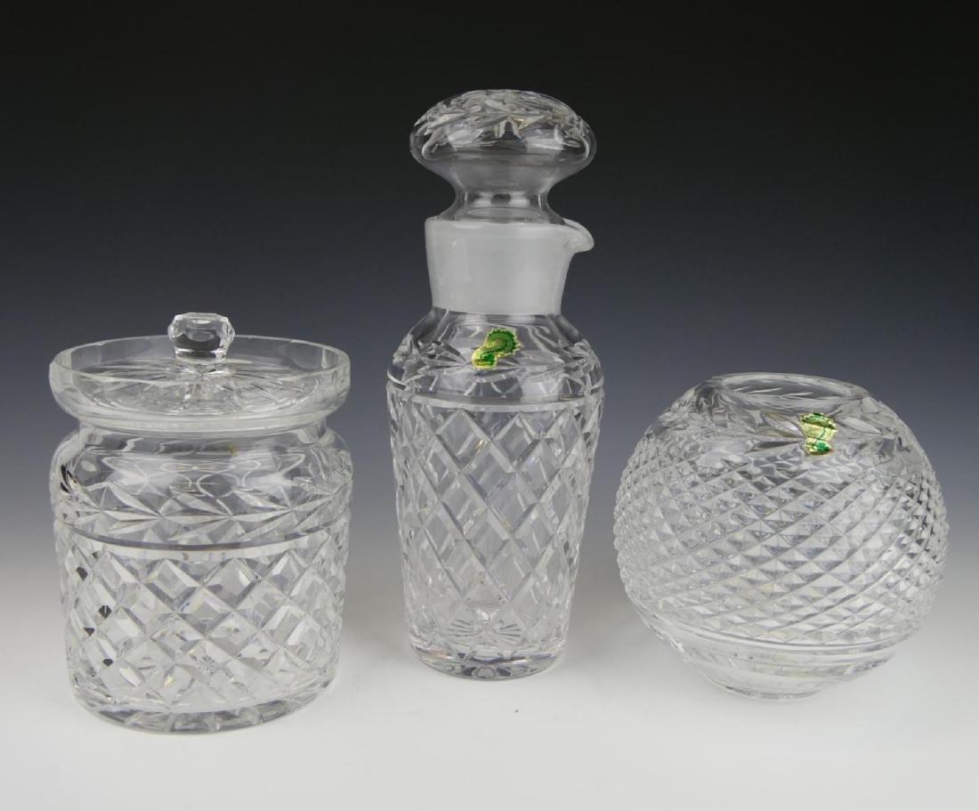 (3) WATERFORD CRYSTAL DECANTER, JAR, & VASE