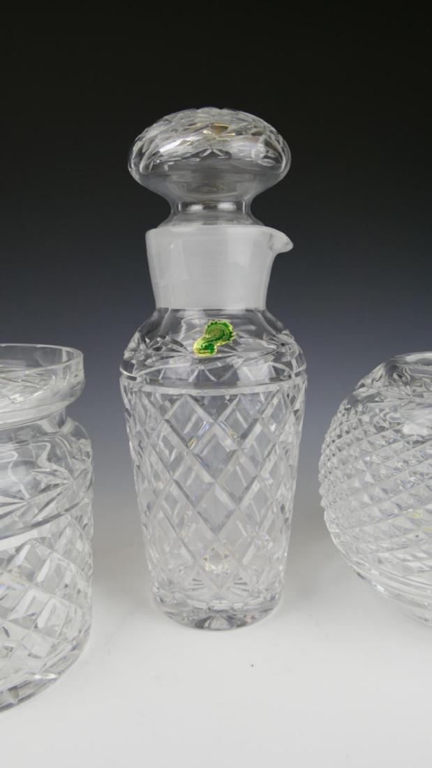 (3) WATERFORD CRYSTAL DECANTER, JAR, & VASE - 3