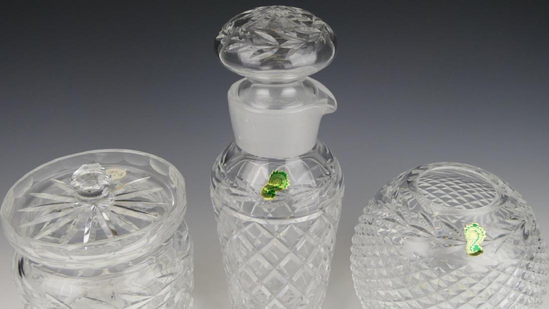 (3) WATERFORD CRYSTAL DECANTER, JAR, & VASE - 5