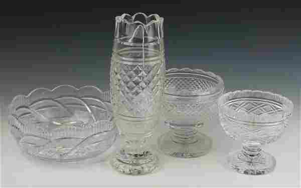 4 WATERFORD CUT CRYSTAL VASE COMPOTE BOWL ITEMS