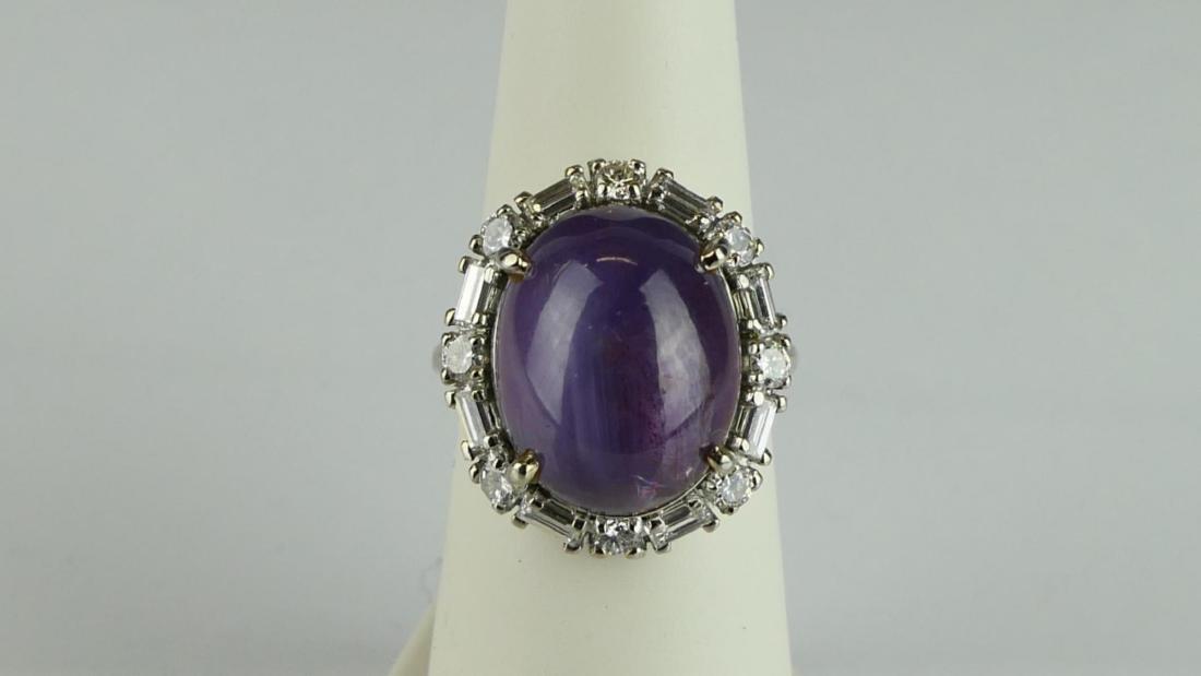 Vtg LADIES PLATINUM PLUM SAPPHIRE DIAMOND RING - 4