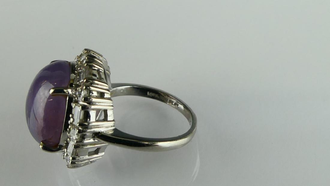 Vtg LADIES PLATINUM PLUM SAPPHIRE DIAMOND RING - 6