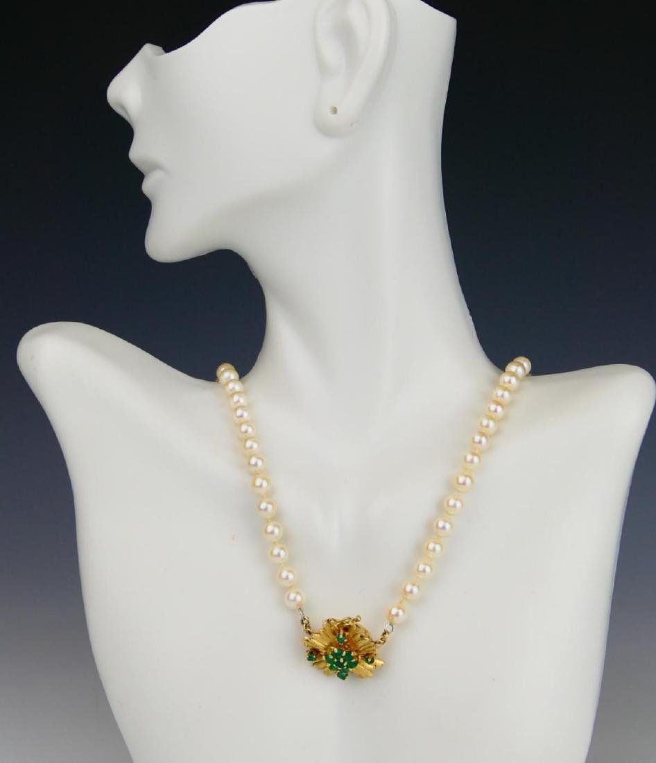 LADIES 14K YG WHITE PEARL EMERALD BEADED NECKLACE