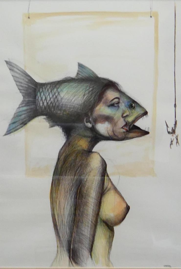 EUDALDO CRESPO (CUBAN,B.1958) WATERCOLOR / INK