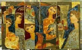 RUTH FAKTOR (ISRAEL b1937) PAINTED CERAMIC TILES