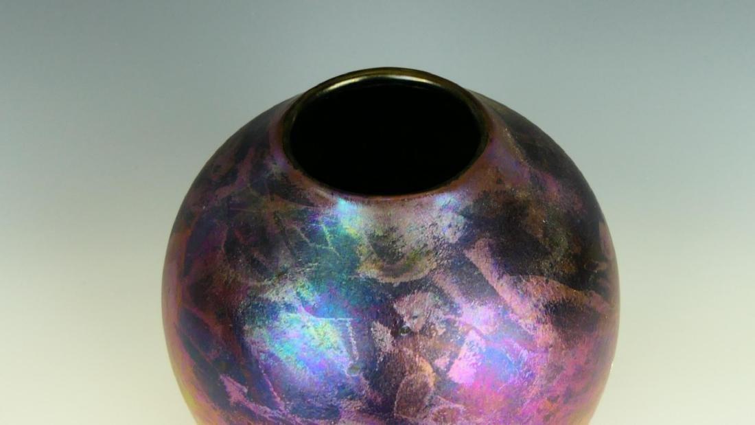 ZELLIQUE STUDIOS IRIDESCENT ART GLASS VASE - 2