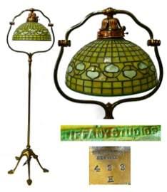 TIFFANY STUDIOS FLOOR LAMP w ACORN FAVRILLE SHADE