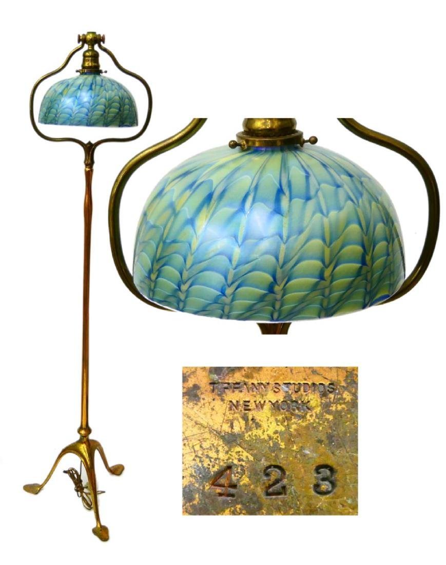 TIFFANY STUDIOS FLOOR LAMP WITH FEATHER SHADE