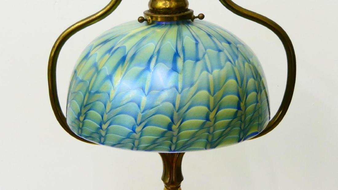 TIFFANY STUDIOS FLOOR LAMP WITH FEATHER SHADE - 5