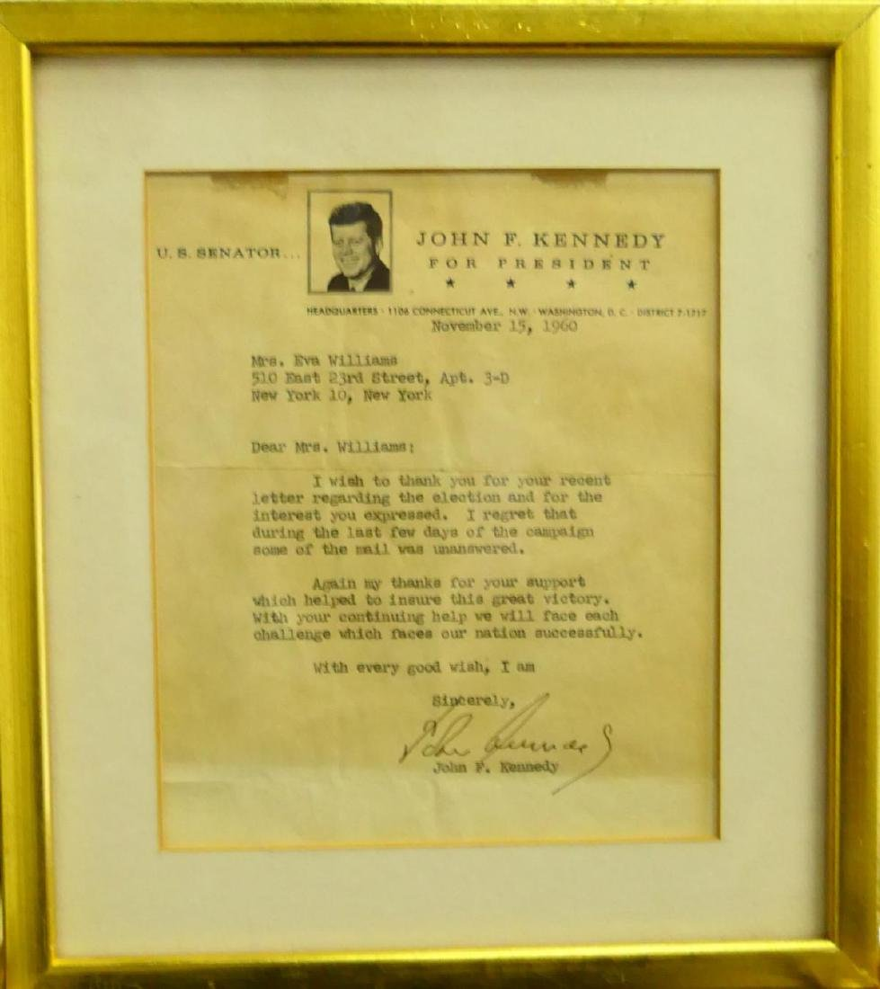1960 JOHN F. KENNEDY SIGNED CAMPAIGN LETTER