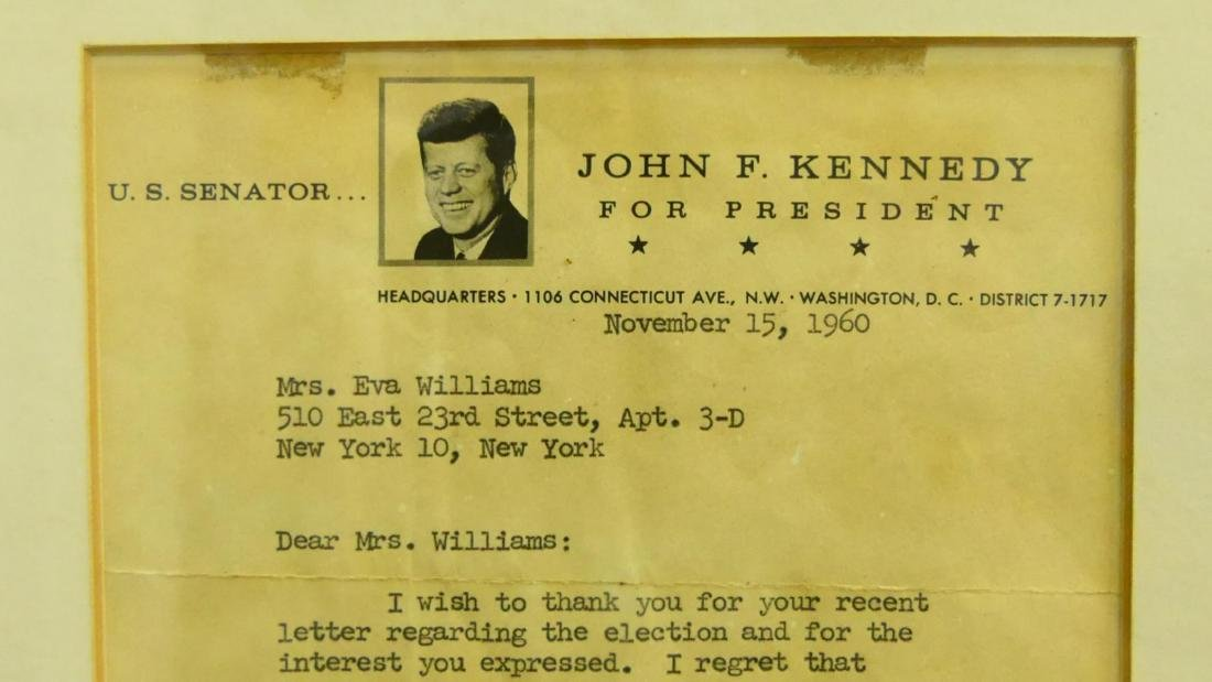 1960 JOHN F. KENNEDY SIGNED CAMPAIGN LETTER - 2