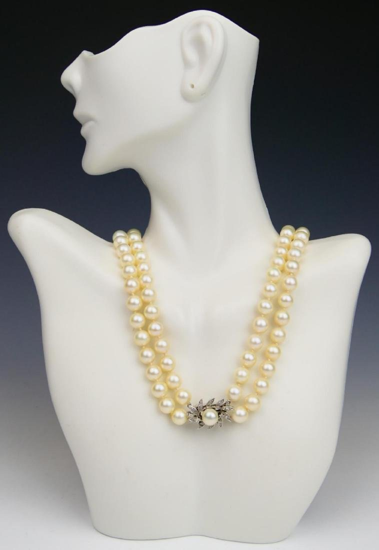 VINTAGE 14K WG TWO STRAND PEARL DIAMOND NECKLACE