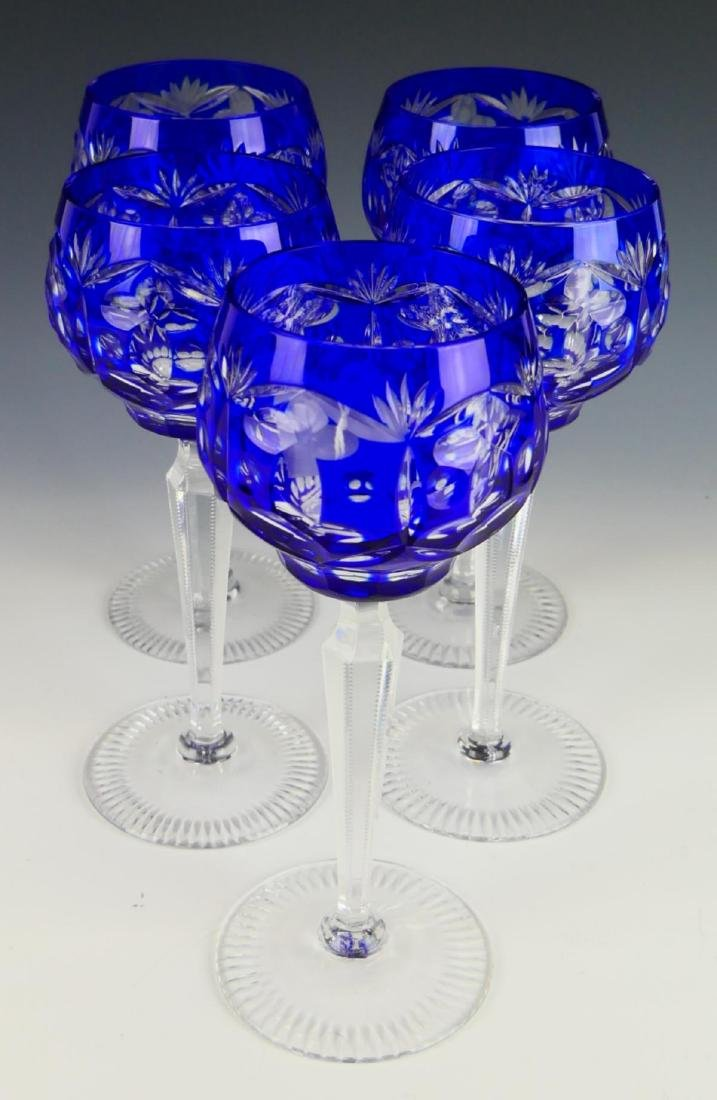 5 BOHEMIAN COBALT CUT TO CLEAR CRYSTAL STEM GLASSE
