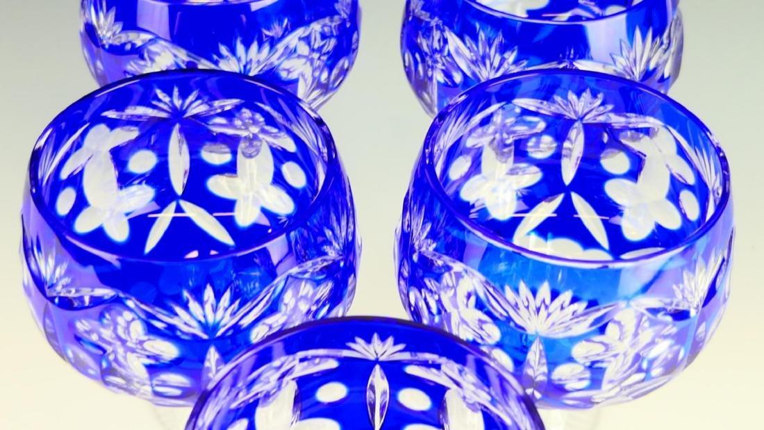 5 BOHEMIAN COBALT CUT TO CLEAR CRYSTAL STEM GLASSE - 3